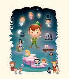 Walt Disney's Peter Pan was released on this day in Disney Nerd, Cute Disney, Disney Pixar, Chibi Disney, Peter Pan And Tinkerbell, Peter Pan Disney, Disney Artwork, Disney Drawings, Peter Pan Dibujo