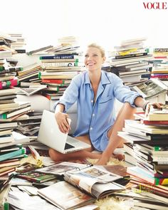 Well read. Gwyneth Paltrow in a sea of books. Vogue US August 2010. Photo: Mario Testino (Peruvian, 1954-).