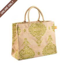Green Indian Print Jute Tote Bag at Kirkland's $10