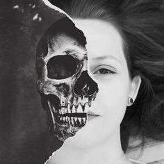 """☕ Serena-West : Perguntas e Respostas Retiradas do Yahoo - """"A mort... Horror Photography, Shadow Photography, Face Photography, Photography Basics, Conceptual Photography, Face Collage, Collage Art, Half Skull Face, Distortion Art"""
