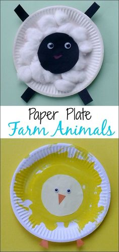 Crafts for Toddlers - Paper Plate Baby Farm Animals: what a fun Spring craft for little ones from Multicraftingmummy on Mess for Less. #artsandcraftsforchildren,