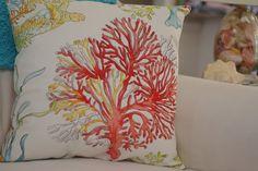 Beach Decor Red Coral and Sea Turtle Ocean Reef  Pillow - Throw Pillow - Coastal Decor