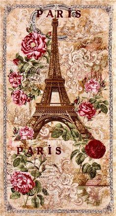 Vintage Paris Eiffel Tower Fabric with Beige Fabric by Timeless Treasures Decoupage Vintage, Decoupage Paper, Vintage Diy, Shabby Vintage, Vintage Paris, Paris Pictures, Vintage Pictures, Vintage Images, Paris Images