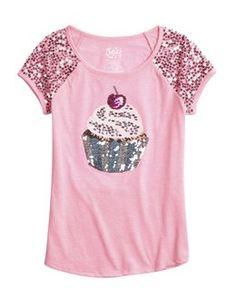 Sequin Cupcake Graphic Tee.  Buy tee @ http://www.shopjustice.com/girls-clothing/sequin-cupcake-graphic-tee/6071384/657?pageSort=W3sidHlwZSI6ImZlYXR1cmVkIiwidmFsIjoiIn1d&productOrigin=category%20page&productGridPlacement=20-4