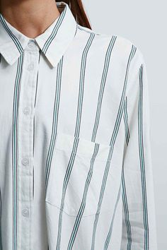 BDG Striped Shirt in White