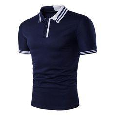 Mens Casual Simple Stripes Turn-down Collar Leisure Golf Shirt Summer Breathable Slim Tops Tees Mens Golf Fashion, Mens Golf Outfit, Golf Attire, Golf Clothing Brands, Clothing Apparel, Men's Apparel, Georgia, Camisa Polo, Golf Shirts