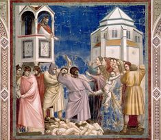 Giotto di Bondone (Italian artist, 1267-1337).Избиение младенцев. Джотто ди Бондоне  Фрески капеллы дель Арена (или капеллы дельи Скровеньи) в Падуе (1304-1306)