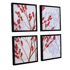 ArtWall Herb Dickinson's Berries, 4 Piece Floater Framed Sqare Set