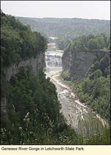 """The Genesee River Gorge in Letchworth State Park in Livingston County in the Finger Lakes #FingerLakes, sometimes called """"the Grand Canyon of the East."""" It is one of about a dozen places in the Finger Lakes where one can do white-water canoeing, kayaking, and rafting. It is rated as Class II-III."""