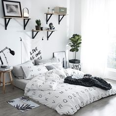 Black and White English Monogrammed Simply Chic High Fashion Hipster Preppy Style Twin, Full, Queen Size Bedding Sets