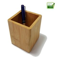 Premium Bamboo Wood Desk Pen Pencil Holder | Cup Stand For Pens, Utensils And Remote Controllers | Best Desk And Office Supplies Caddy | Multi Purpose Use Organizer Pot