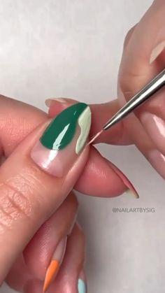 Sassy Nails, Edgy Nails, Funky Nails, Stylish Nails, Trendy Nails, Nail Art Tips, Nail Art Videos, Gel Nail Art Designs, Glow Nails