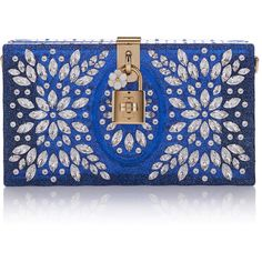 Dolce & Gabbana     Crystal-Embellished Clutch ($2,157) ❤ liked on Polyvore featuring bags, handbags, clutches, purses, blue, accessories, floral handbags, floral print purse, flower print handbags and blue clutches