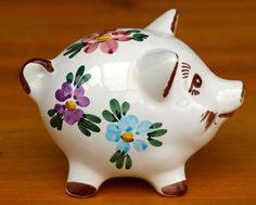 1960s: Ceramic Hand Painted Piggy Bank
