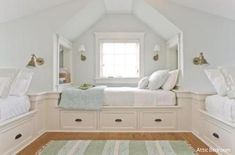 keen - The Boston Globe Beds are built in atop storage drawers in the third-floor bunk room.Beds are built in atop storage drawers in the third-floor bunk room. Bunk Rooms, Attic Bedrooms, Girls Bedroom, Bedroom Ideas, Bedroom Decor, Attic Bedroom Kids, Bonus Room Bedroom, Attic Bedroom Designs, Upstairs Bedroom