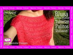 "Blusa Jersey Suéter Sweater a Palitos ""Juliana"" por Maricita Colours Tutorial Gratis Hombro caído - YouTube"