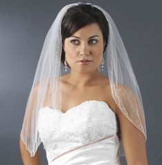 Beaded Crystal Elbow Length Wedding Veil