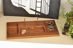 Vintage Mens Wood Tray Holder Vanity Valet Father's Gift Dresser Letter…