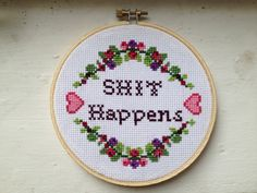 PATTERN MATURE Sht Happens Cross Stitch van stephXstitch op Etsy, $5,00