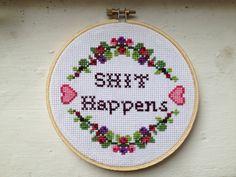 PATTERN MATURE Sht Happens Cross Stitch van stephXstitch op Etsy, $5,00