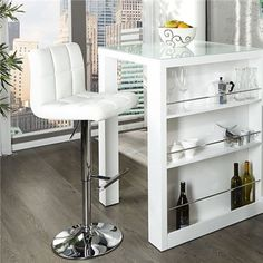 ENZO - breakfast bar white high gloss kitchen bar table by Neofurn Bar Table, Kitchen Bar Table, Table, Small Kitchen Tables, Bar Stool Furniture, Interior, High Gloss Kitchen, Living Room Table, Bar