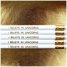 White HB pencils are hand stamped with gold foil lettering and come sharpened ready to use with gold ferrule and matching white rubber on top in case you make a mistake when making those lists or daily doodles! Pencils are £1.20 each and sold individually to allow you to choose your own quantity. We also have a matching I Believe In Unicorns Pen (£2.50) available in our shop - see other listing! ▬▬▬▬▬▬▬▬▬▬▬▬▬▬ ★ FLAT RATE DELIVERY ★ We aim to dispatch your order
