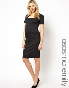 ASOS Maternity | ASOS Maternity Pencil Dress In Bengaline With Square Neck at ASOS