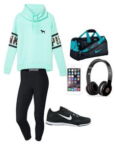 """Untitled #15"" by savashalove ❤ liked on Polyvore featuring Victoria's Secret PINK, NIKE and Beats by Dr. Dre"