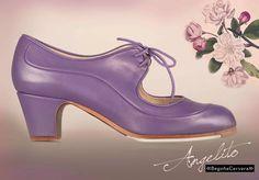 Zapato profesional de flamenco Begoña Cervera Modelo  Angelito piel malva