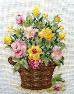 Basket of Summer Flowers Hand Made Finished Cross Stitch - Tapestry - Needlework in Crafts, Cross Stitch, Completed Cross Stitch | eBay