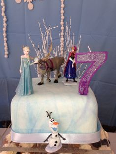 What a great cake at a Frozen Birthday Party!  See more party ideas at CatchMyParty.com!  #partyideas #frozen