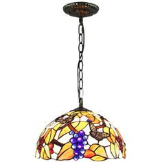 Grape And Butterfly Pattern Tiffany Style Pendant Ceiling Lightings (630 PLN) ❤ liked on Polyvore featuring home, lighting, ceiling lights, grape lights, tiffany style ceiling lamps, green pendant lights, tiffany style light and green light