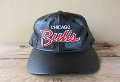 Vintage 80s Leather CHICAGO BULLS Sports Specialties Script Strapback Hat  Official NbA The Pro Basketball Cap Rare Michael Jordan OG Ballcap 0db395f34e8d