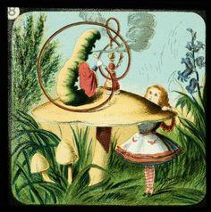 Alice in Wonderland, in 24 Vintage Magic Lantern Slides Based on Sir John Tenniel's Iconic Illustrations – Brain Pickings Alice In Wonderland Characters, Alice In Wonderland Party, John Tenniel, Mad Hatter Tea, Mad Hatters, Through The Looking Glass, Caterpillar, Book Art, Drawings