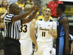 Wichita States Landry Shamet reacts to a foul call against Augusta during the second half of their game at Koch Arena on Saturday.