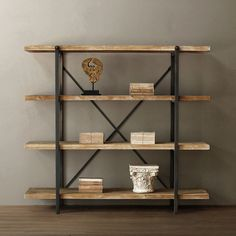 Bibliothèque en bois et fer. - Baile Tutorial and Ideas Industrial Design Furniture, Industrial Interiors, Rustic Furniture, Furniture Design, Cheap Shelves, Wood Shelves, Display Shelves, Industrial Shelves, Muebles Living