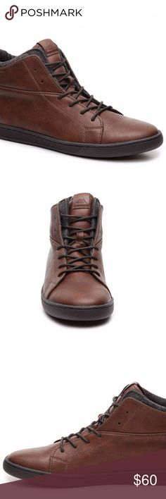 ALDO NYDADDA HIGH-TOP SNEAKER Men's 8, 9 These are great shoes for casual and leisure wear and to enjoy a quiet walk in the park.  Men sizes 8, 9, 10 (color: brown) (medium width)  Make an offer!  First 5  pics are stock. Last 3 are the actual shoes for sale. Aldo Shoes Sneakers