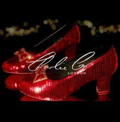 CHARLIE CO. Dorothy's Replica Ruby Slippers Wearable Low Heel Wizard Of Oz Heels Bridal Wedding Prom Evening Sparkly Occasion Red Swarovski