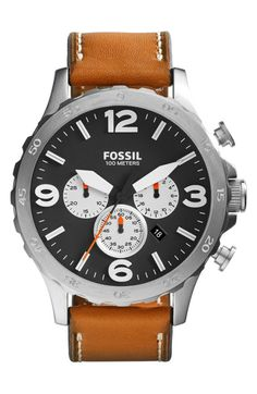 White Contour On Black With Orange Hands. The Leather Of The Band Brings It Altogether. Fossil - 'Nate IP'