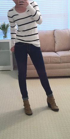 White shirt with skinny black stripes, dark skinny jeans, fantastic wedge boots