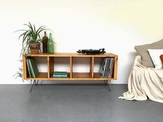"""Sonor Large 140cm (55"""") Record Player TV LP Vinyl Storage Stand Cabinet Table Solid Wood on Mid Century Hairpin Legs."""
