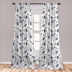 Oasis Amelia Lined Eyelet Ring Top Curtains Toile Design Indigo Blue or Charcoal