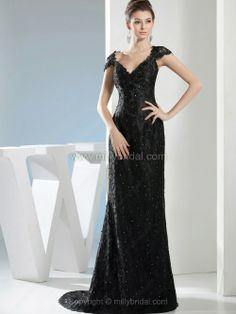 Sheath/Column V-neck Lace Sweep Train Beading Prom Dresses