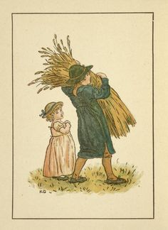 Two children - Kate Greenaway's Almanack for August 1894