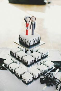 black white wedding petit fours
