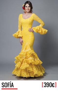 Aires de Feria, trajes de flamenca - Colección 2016 Elegant Dresses, Cute Dresses, Formal Dresses, Yellow Lace, Yellow Dress, Spanish Dress, Gypsy Women, Salsa Dress, Spanish Fashion