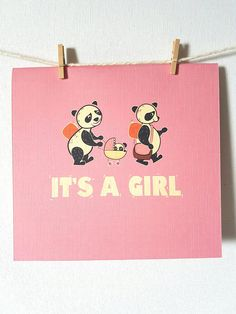 This super cute new baby girl card is great way to send your best wishes to the new baby. Ideal for a baby shower or congratulate the latest addition to the family. All my cards are designed, illustrated, printed and handcrafted by me in my own little studio. Each panda card is printed on
