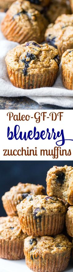 Tender, moist and hearty grain free and paleo blueberry zucchini muffins that everyone will love! The right combination of grain free flours gives them classic texture and unrefined coconut sugar adds (Paleo Sweet Recipes) Paleo Dessert, Dessert Sans Gluten, Paleo Sweets, Gluten Free Desserts, Dairy Free Recipes, Whole Food Recipes, Paleo Recipes For Kids, Healthy Recipes, Paleo Kids