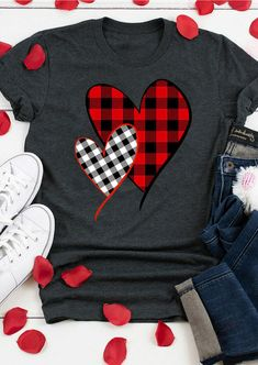Home T Shirts, Vinyl Shirts, Tee Shirts, Baseball Shirts, Valentines Day Shirts, Valentines Diy, Plaid And Leopard, Black Plaid, T Shirt Designs
