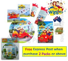 The Wiggles Birthday Party pack Plate Cup Napkin Supply loot bag Decoration Emma 9313985010591 | eBay